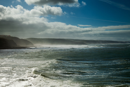 windy day: Atlantic waves at Portugal cost in windy day.