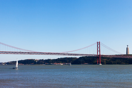 salazar: Tagus river and bridge of 25th april, Lisbon, Portugal.
