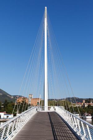 spezia: Footbridge in Spezia harbor, Italy. Stock Photo