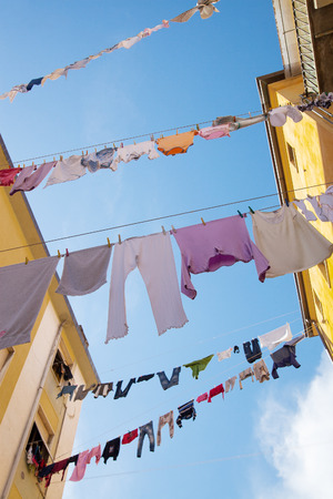 drying: Drying of clothes in italian town.