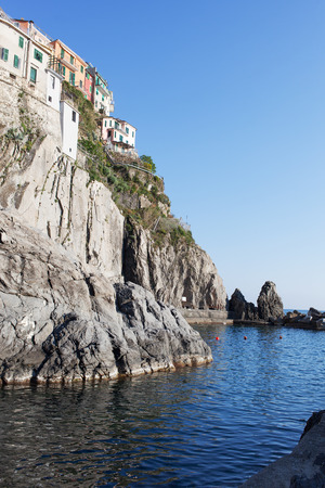 liguria: Manarola village in Cinque Terre, Liguria, Italy. Stock Photo