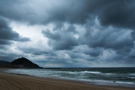 san sebastian: Stormy evening at gulf of Biscay, San Sebastian, Spain.