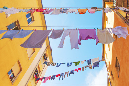 laundry line: Drying of clothes in italian town.
