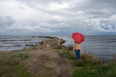 breakwater: Old breakwater in dark Baltic sea.