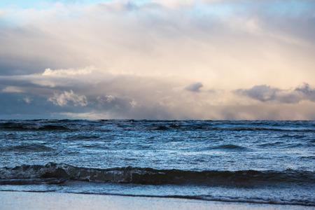 restless: Windy day in gulf of riga, Baltic sea.