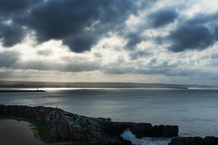 atlantic: Rocky Atlantic ocean coast at Peniche, Portugal.