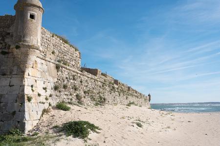 Peniche city wall at Atlantic ocean, Portugal.