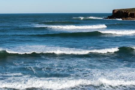 Waves at Atlantic ocean coast in Peniche, Portugal. Stock Photo