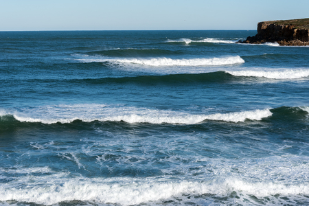 Waves at Atlantic ocean coast in Peniche, Portugal. Stock Photo