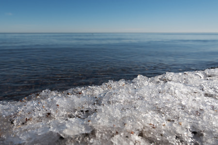 cold day: Ice at still baltic sea in cold day.
