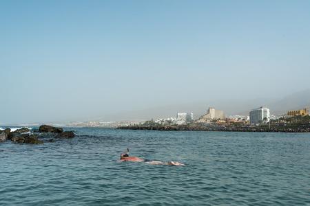 adeje: Seaside of Coasta Adeje, Tenerife, Canary islands, Spain. Stock Photo