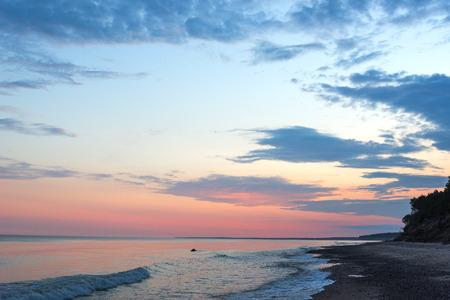 Sunrise of summer solstice, Baltic sea coast, Latvia. Stock Photo