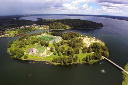 Coasts and islands of Aluksne lake, Latvia.