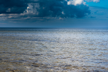 latvia: Blue cluds over gulf of Riga, Baltic sea. Stock Photo