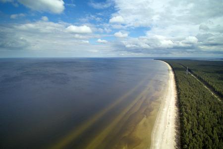 latvia: Aerial view of gulf of Riga, Baltic sea. Stock Photo