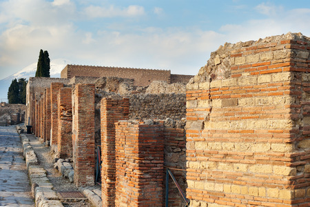 archaeological sites: Ancient street in Pompei city ruins, Italy.