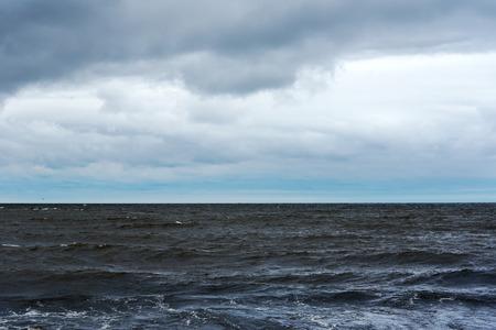 windy day: Dark Baltic sea in windy day.