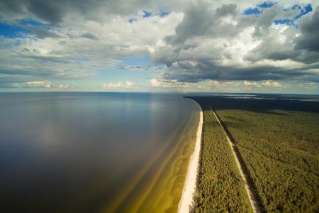 Clody summer day at gulf of Riga, Baltic sea, Latvia. Stock Photo