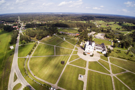 Aerial view of Basilica of the Assumption, Aglona, Latvia.