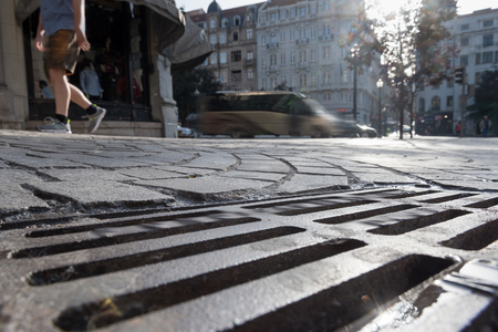 cobblestones: Cobblestones in Porto city, Portugal. Stock Photo