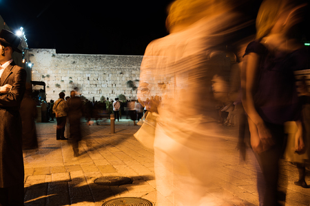 Evening at Western wall, Jerusalem, Israel. Stock Photo