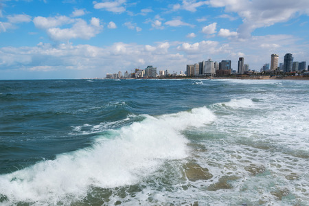 tel: Stormy Mediterranean sea at Tel Aviv, Israel.