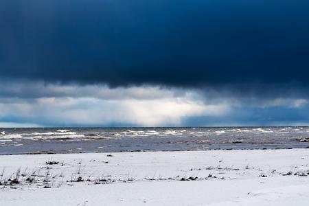 Snowy coast , gulf of Riga, Baltic sea. Stock Photo