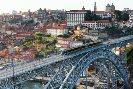 ribeira: Porto bridge, Portugal. Stock Photo