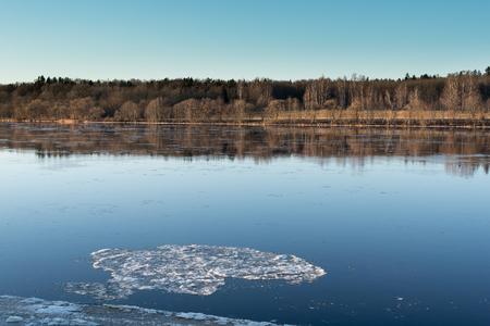 First ice in december on Daugava river, Latvia. Stock Photo
