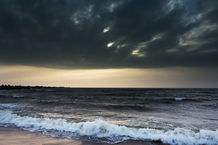 Stormy and dark Baltic sea . Stock Photo