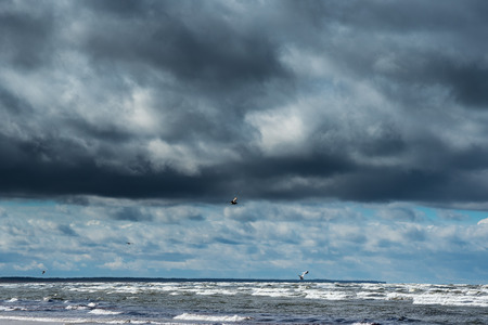 air: Stormy Baltic sea. Stock Photo