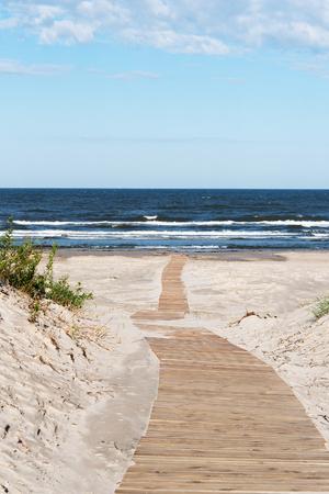 Wooden path to Baltic sea, Liepaja, Latvia.