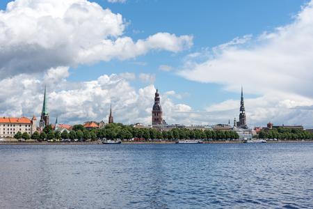 Riga city skyline across river Daugava, Latvia.