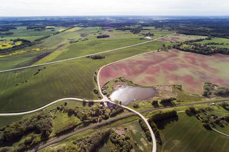 Aerial wiev of Latvian countryside, Tukums area.