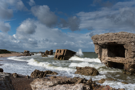 latvia: Stormy Baltic sea and fortress ruins, Liepaja, Latvia. Stock Photo