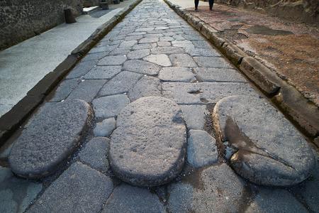 Old street in Pompeii ruins, Italy. Stok Fotoğraf