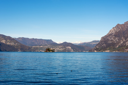 Lake Iseo and Isola di Loreto, Lombardy, Italy.