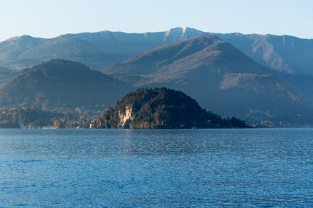 Como lake coast in early morning, Lombardy, Italy.
