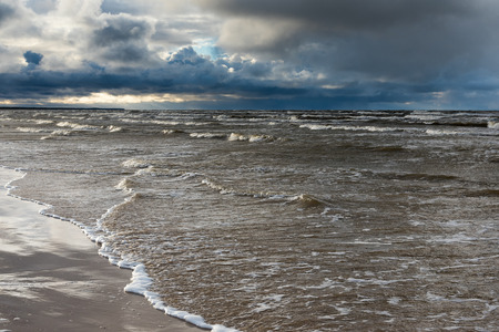 Stormy day by Baltic sea, Latvia.