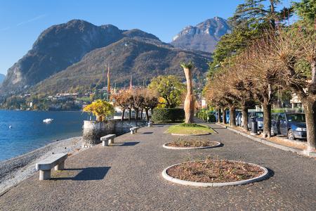 Autumn morning at Como lake in Menaggio city, Italy.