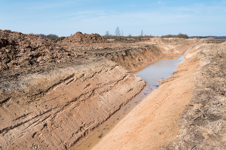 New agricultural ditch. Stock Photo