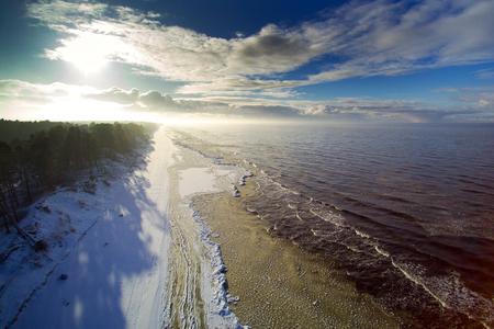 Winter time by Baltic sea next to Liepaja, Latvia.