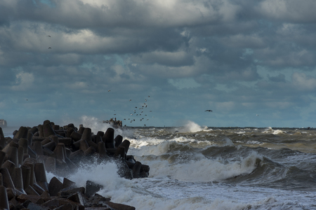 Stormy Baltic sea next to Liepaja, Latvia.