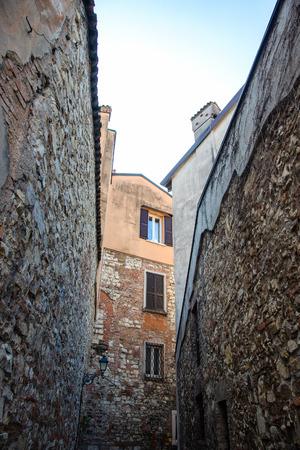 Brescia city street, Italy. Imagens