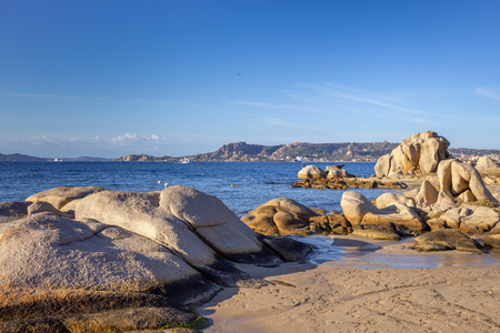 Stones in Mediterranean sea next to Palau, Sardinia, Italy. 스톡 콘텐츠