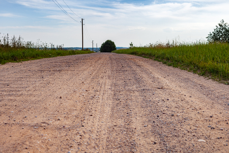Gravel road in countryside. 스톡 콘텐츠