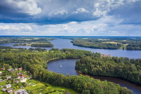 Aerial view of Daugava river at Koknese, Latvia. Imagens