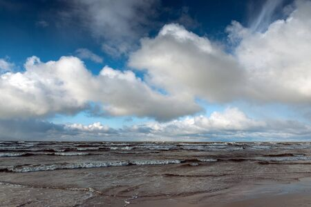 Cloudy sky over Baltic sea.