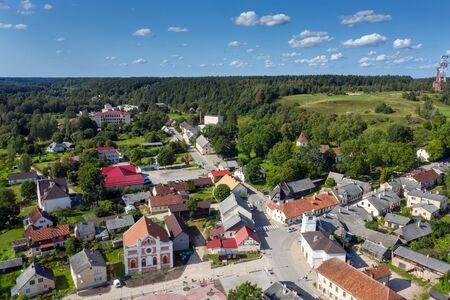 Sabile city aerial view, Latvia. Banco de Imagens