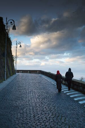 Sorrento city street in evening time, Italy.